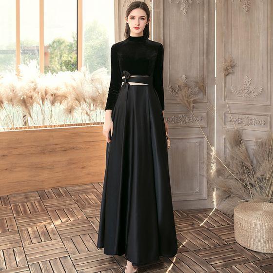 Affordable Black Satin Suede Evening Dresses  2020 A-Line / Princess High Neck 3/4 Sleeve Floor-Length / Long Ruffle Backless Formal Dresses