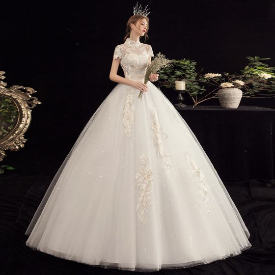 Affordable Champagne Wedding Dresses 2020 Ball Gown See-through High Neck Short Sleeve Appliques Lace Beading Pearl Sequins Floor-Length / Long Ruffle