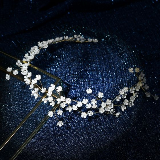 Elegant Gold Headpieces Bridal Jewelry 2020 Metal Beading Flower Headbands Earrings Wedding Accessories