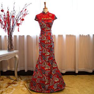 Style Chinois Rouge Robe De Soirée 2018 Trompette / Sirène En Dentelle Brodé Paillettes Fleur Col Haut Manches Courtes Longue Robe De Ceremonie