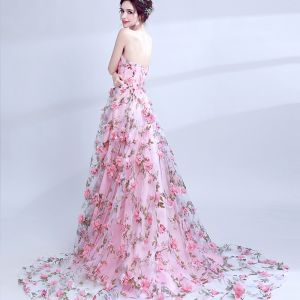 Chic / Beautiful Candy Pink Evening Dresses  2017 A-Line / Princess Strapless Court Train Lace Appliques Backless Printing Evening Party Prom Dresses
