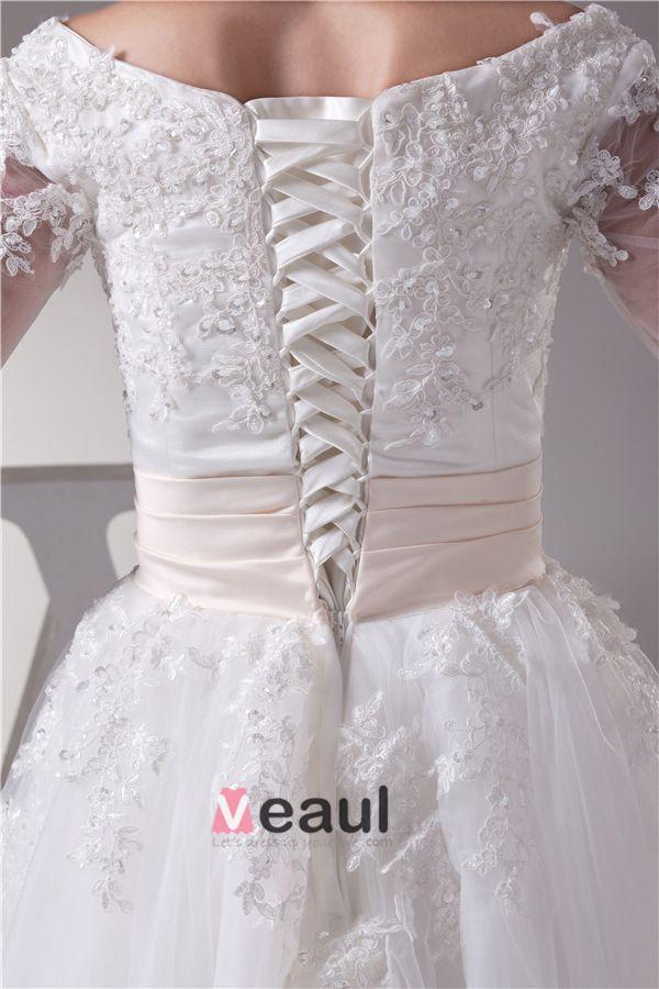 Charmante Robe De Bal Robe De Mariage Manches En Dentelle De Col Rond Thé Longueur Courte Robe De Mariée
