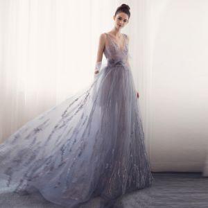 Modern / Fashion Evening Dresses  2017 V-Neck Sleeveless Silver Tulle Ruffle Bow Sash Backless Formal Dresses Sweep Train