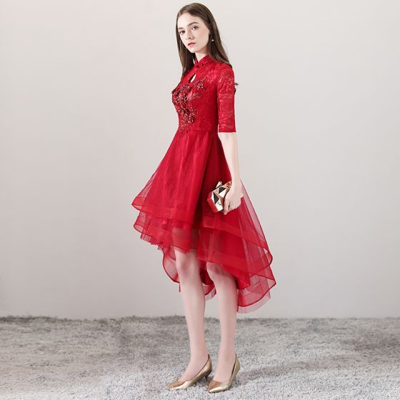 Chinese style Red Cocktail Dresses 2018 A-Line / Princess High Neck 1/2 Sleeves Pearl Rhinestone Appliques Flower Asymmetrical Ruffle Formal Dresses