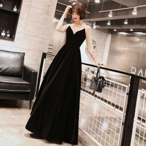 Modern / Fashion Black Suede Winter Evening Dresses  2019 A-Line / Princess Scoop Neck Long Sleeve Floor-Length / Long Ruffle Backless Formal Dresses