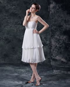 Mini Women Chiffon Zipper Tea Length Wedding Dresses