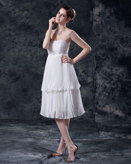 Mini Women Chiffon Zipper Tea Length Wedding Dresses