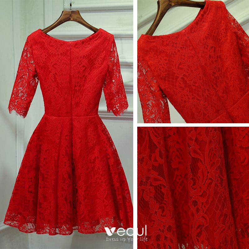 Chic / Beautiful Red Formal Dresses Evening Dresses  2017 Lace Flower Scoop Neck 1/2 Sleeves Short A-Line / Princess