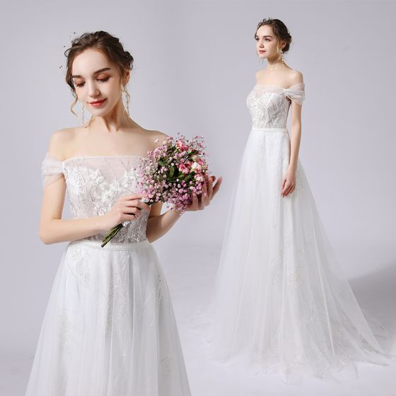 Charming Ivory Wedding Dresses 2021 A-Line / Princess Off-The-Shoulder Sequins Lace Flower Sleeveless Backless Sweep Train Wedding