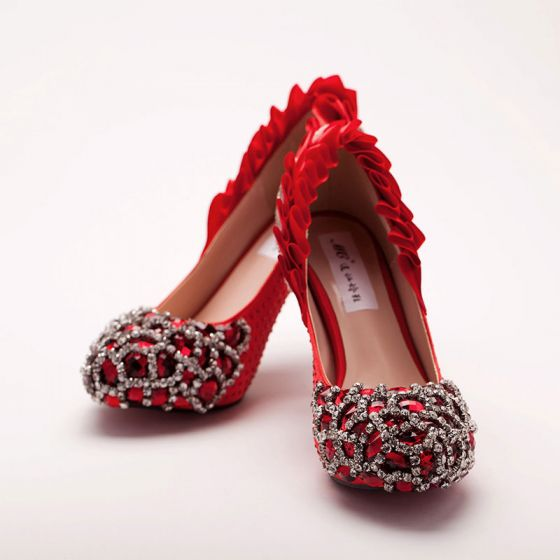 Handmade Rhinestone Red Bridal Shoes / Wedding Shoes / Woman Shoes