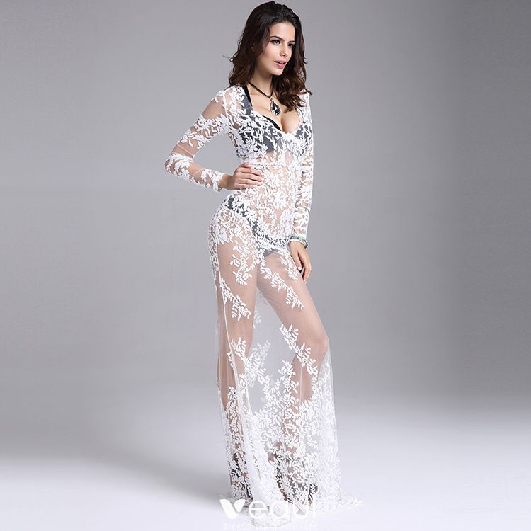 Sexy White Maxi Dresses 2018 Trumpet Mermaid See Through Lace Flower V Neck Long Sleeve Floor Length Long Womens Clothing
