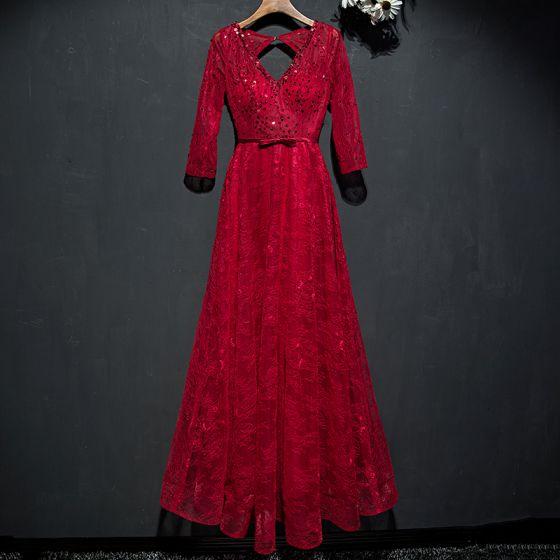 Piękne Czerwone Sukienki Wizytowe Sukienki Wieczorowe 2017 Koronkowe Cekiny Kokarda Bez Pleców Długość Kostki V-Szyja 3/4 Rękawy Princessa