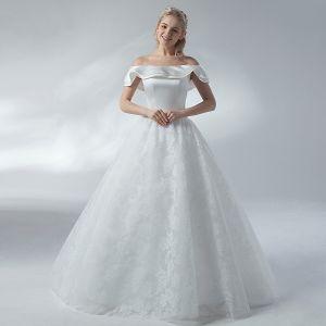 Erschwinglich Weiß Brautkleider / Hochzeitskleider 2018 A Linie Off Shoulder Rückenfreies Kurze Ärmel Lange Hochzeit