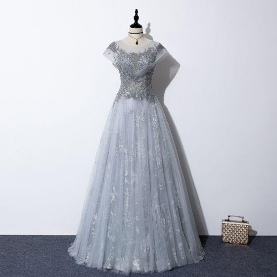 Illusion Grau Durchsichtige Abendkleider 2020 A Linie Rundhalsausschnitt Kurze Ärmel Pailletten Perlenstickerei Lange Rüschen Rückenfreies Festliche Kleider