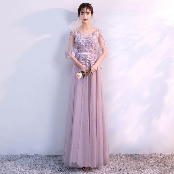 Chic / Belle Robe Demoiselle D'honneur 2018 Princesse Appliques Perlage Ceinture V-Cou Dos Nu 1/2 Manches Longue Robe Pour Mariage