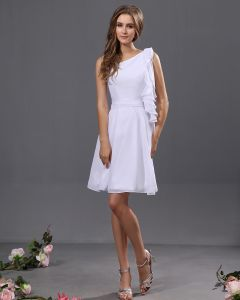 Elegant Chiffon Pleated Ruffle One Shoulder Knee Length Graduation Dresses