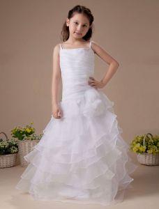 Blanc Fantastique Robe Ceremonie Fille Robe Fille Mariage De Tulle À Volants