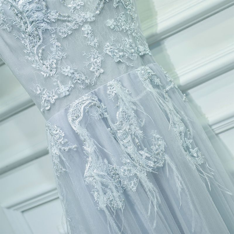 Modest / Simple Grey Wedding Party Dresses Bridesmaid Dresses 2017 Lace Flower Pearl Scoop Neck Ankle Length Sleeveless A-Line / Princess