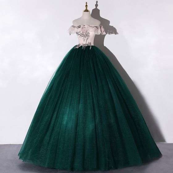 Chic / Beautiful Dark Green Dancing Prom Dresses 2020 Ball Gown Off-The-Shoulder Short Sleeve Appliques Lace Flower Sequins Beading Pearl Floor-Length / Long Ruffle Backless Formal Dresses