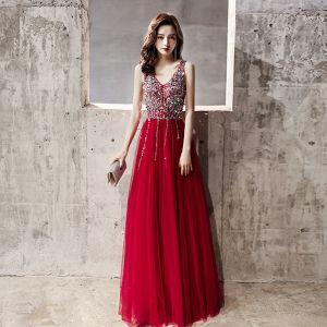 Charming Burgundy Evening Dresses  2020 A-Line / Princess V-Neck Sequins Sleeveless Backless Floor-Length / Long Formal Dresses