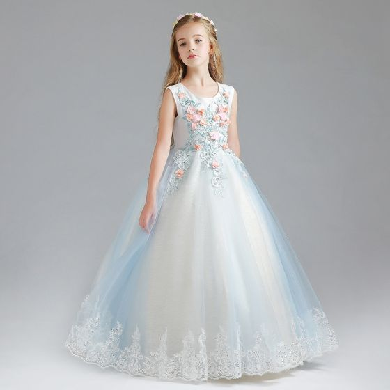 Chic / Beautiful Sky Blue Flower Girl Dresses 2017 Ball Gown Scoop Neck Sleeveless Appliques Flower Lace Sequins Floor-Length / Long Ruffle Wedding Party Dresses