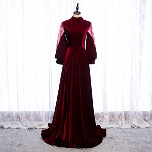 Elegant Burgundy Evening Dresses  2020 A-Line / Princess Suede High Neck Long Sleeve Backless Bow Sweep Train Formal Dresses