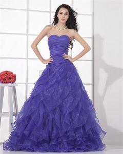 Mode-ballkleid-schatz-gaze ärmellos Bodenlangen Abendkleid