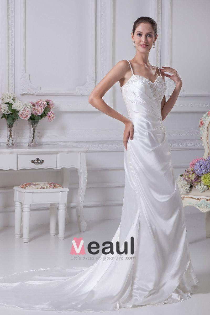 Charmeuse Shoulder Straps Chapel Sheath Bridal Gown Wedding Dress