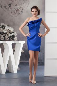 2015 Appealing One Shoulder Pleated Ruffle Crystal Neckline Short Cocktail Dress