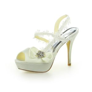 Princesse Chaussures De Mariée Stilettos Satin Sandales Avec Dentelle Et Strass Noeud