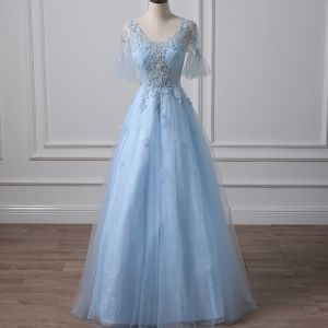 Illusion Sky Blue Pierced Evening Dresses  2018 A-Line / Princess V-Neck Short Sleeve Sequins Beading Floor-Length / Long Ruffle Backless Formal Dresses