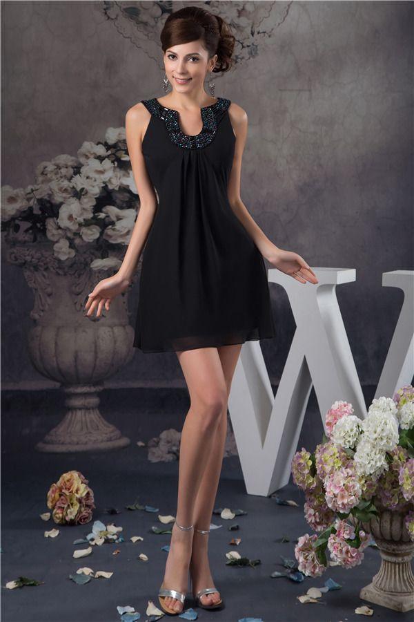 Aantrekkelijk Fit Unieke Kralen Hals Little Black Dress Korte Cocktailjurken