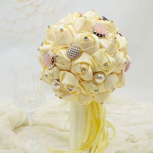 Wedding Gift Nylon Fabric Roses Bridal Bouquets Holding Flowers Wedding Flowers