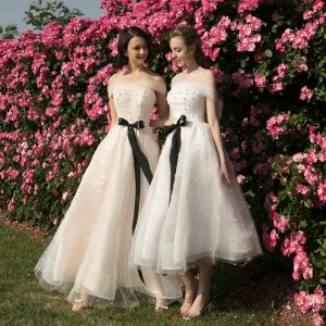 Elegant Champagne White Bridesmaid Dresses 2018 A-Line / Princess Off-The-Shoulder Short Sleeve Pearl Sash Backless Wedding Party Dresses
