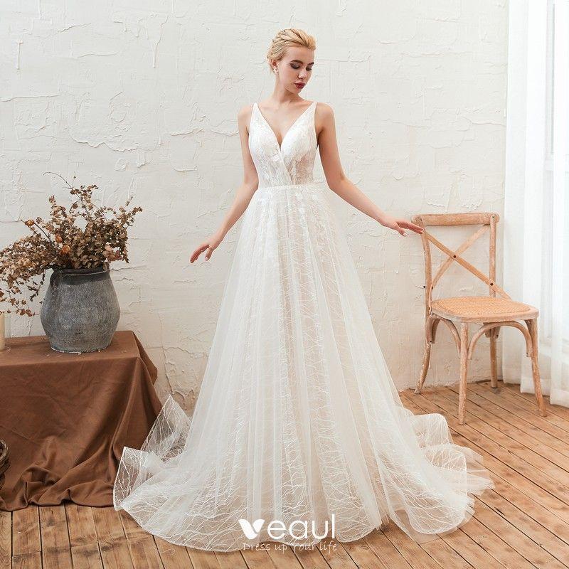 Affordable Ivory Outdoor Garden Summer Wedding Dresses 2019 A Line Princess Deep V Neck Sleeveless Backless
