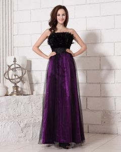 Stylish Ankle Length Strapless Waistband Feathers Satin Organza Prom Dresses