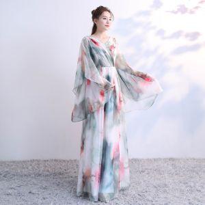 Blumenfee Multifarben Lange Abendkleider 2018 A Linie Tülle V-Ausschnitt Rückenfreies Drucken Abend Festliche Kleider