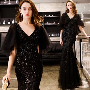 Affordable Black Glitter Sequins Evening Dresses  2019 Trumpet / Mermaid V-Neck 1/2 Sleeves Floor-Length / Long Ruffle Backless Formal Dresses
