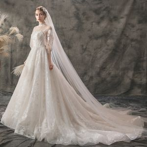 Light See-through Champagne Outdoor / Garden Wedding Dresses 2019 A-Line / Princess High Neck Puffy 3/4 Sleeve Backless Appliques Lace Court Train Ruffle