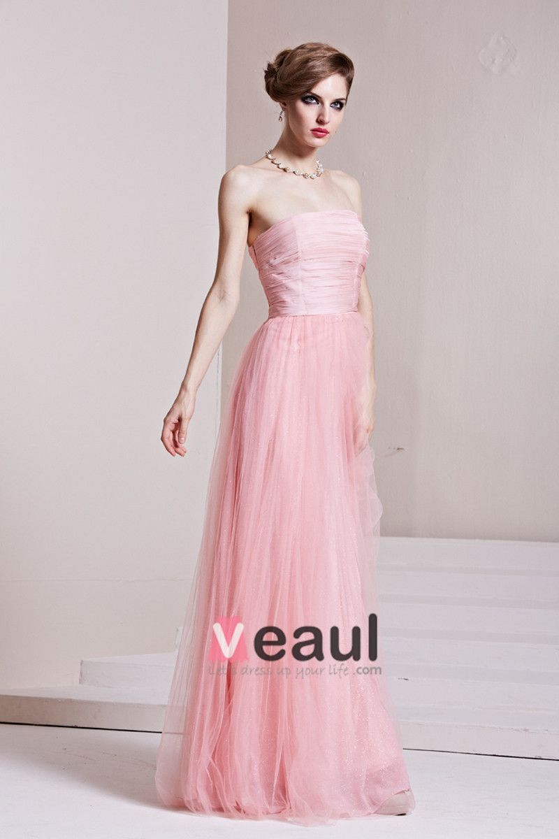 Charmeuse Gauze Ruffle Strapless Sleeveless Backless Floor Length Pleated Evening Dress