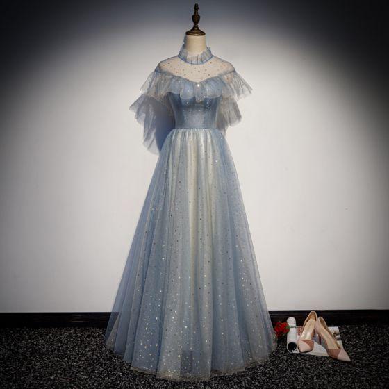 Elegant Sky Blue See-through Evening Dresses  2019 A-Line / Princess High Neck Short Sleeve Glitter Tulle Floor-Length / Long Ruffle Backless Formal Dresses