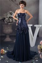 2015 Bling Sequined Strapless Ruffle Long Prom Dress