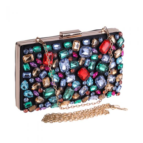 Chic / Beautiful Multi-Colors Rhinestone Metal Clutch Bags 2018