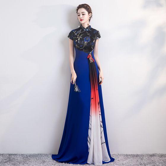 Fashion Royal Blue Cheongsam / Qipao 2020 A-Line / Princess High Neck Short Sleeve Embroidered Flower Floor-Length / Long Formal Dresses
