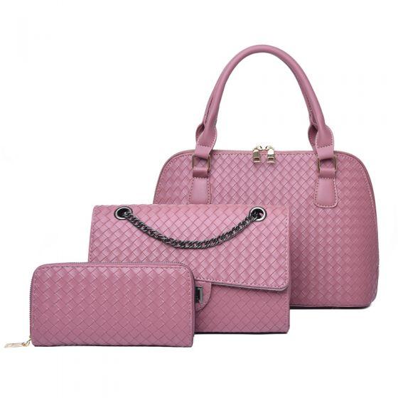 3 Stück Pink Gitter Handtasche Umhängetasche Brieftasche 2021 PU Freizeit Damentaschen