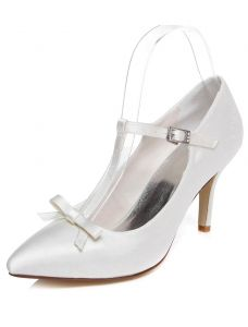 Classic White Wedding Shoes Stiletto Heels Pumps Satin Bridal Shoes With Bow