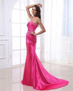 Trägerlosen Ausschnitt Bodenlange Ärmellose Bördelnde Gefaltete Charmeuse Frau Abendkleid