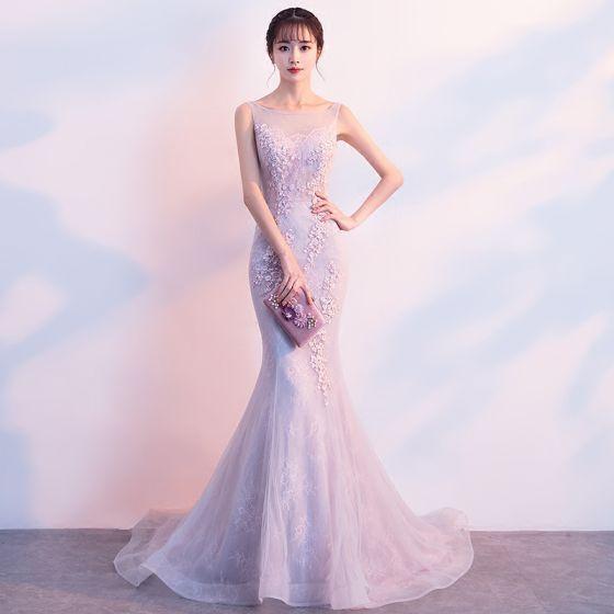 Hermoso Rosa Clara Vestidos de noche 2019 Trumpet / Mermaid Scoop Escote Lentejuelas Con Encaje Flor Sin Mangas Colas De Barrido Vestidos Formales