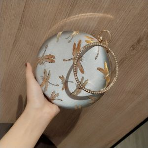 Lovely Silver Round Patent Leather Clutch Bags 2020 Metal Rhinestone Cartoon Embroidered