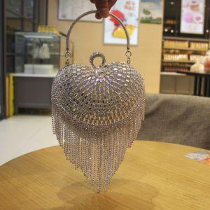 Fashion Silver Patent Leather Heart-shaped Clutch Bags 2020 Metal Rhinestone Tassel